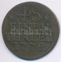 Német Államok / Poroszország 1772A 1/2g (1/48-ad Tallér) Ag II. Frigyes T:3 German States / Prussia 1772A 1/2 Groschen (1/48 Thaler) Ag Friedrich II C:F Krause KM#327