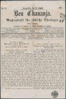 1861 Ben Chananja szegedi zsidó újság címlapja sérült 1858-as szürke Hírlapbélyeggel és 12 Guldenes hirdetményszignettával. (80.000++)