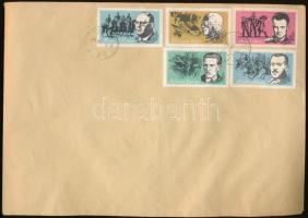 10 klf munkásmozgalmi propaganda levélzáró 2 db borítékon, bélyegezve