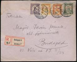 1917 Ajánlott levél Hadi segély II-III vegyes bérmentesítéssel