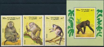 Majom sor 3 értéke + blokk Monkey 3 stamps + block