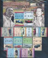 St. Vincent, Nevis, Tuvalu-Nanumaga Autók, Autóversenyzők, Forma 1 sorok és blokkok 2 db berakólapon (Mi EUR ~240,-)