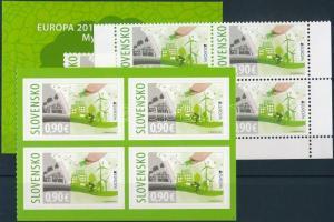 Europa CEPT, Environmental Awareness corner block of 4 + self-adhesive block of 4 + self-adhesive stamp-booklet, Europa CEPT, Környezettudatosság ívsarki 4-es tömb + öntapadós 4-es tömb + öntapadós bélyegfüzet