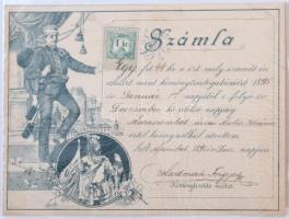 1895 Díszes kéményseprő számla, 1kr illetékbélyeggel, Muraszombat. / Chimneysweep invoice, 1kr revenue-stamp, Muraszombat/Murska Sobota.