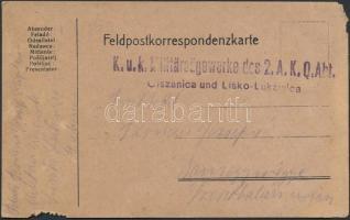 1917 Tábori posta levelezőlap K.u.K. Militarsagewerke des 2. A. K. Q. Abt. / Olszanica und Lisko-Lukawica