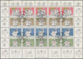 Greeting stamp minisheet with casual first-day cancellation, Üdvözlő bélyegek kisív elsőnapi alkalmi bélyegzéssel