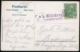 Austria-Hungary Field Censored postcard with silent postmark III/16, ~1916 Képeslap III/16 némabélyegzővel, innsbrucki cenzúrával