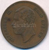 Szerbia 1868. 10p Br III. Mihály T:2 ph. Serbia 1868. 10 Para Br Michael III C:XF edge error