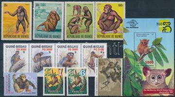 1969-2004 Monkey 3 sets + 1 block + 2 stamps, 1969-2004 Majom motívum 3 db sor + 1 db blokk + 2 db önálló érték