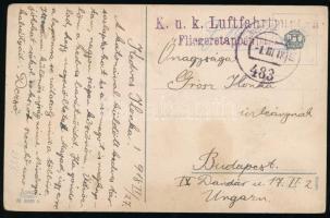 1918 Képeslap / Postcard K.u.k. Luftfahrtruppen Fliegeretappenpark 1 + FP 483
