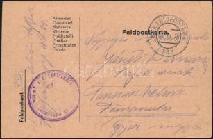 "Austria-Hungary Field postcard ""K.u.k. Luftfahrtruppen Fliegerkompagnie Nr. 14."" + ""FP 332"", Tábori lap ""K.u.k. Luftfahrtruppen Fliegerkompagnie Nr. 14."" + ""FP 332"""