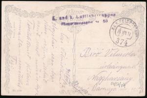 1918 Képeslap / Postcard K.u.k. Luftfahrtruppen Fliegerkompagnie Nr. 50. + FP 374
