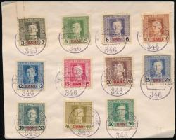 Románia részére 1917 évi forgalmi sorozat első 11 értéke címzetlen borítékon EP 346