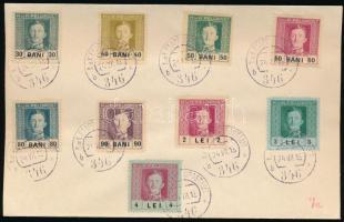 Románia részére 1918 évi forgalmi sor 17 értéke 2 db címzetlen borítékon EP 346b