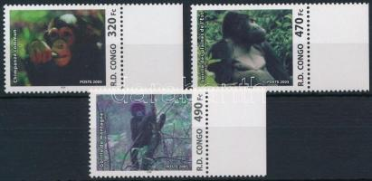 Anthropoid apes 3 margin stamps, Emberszabású majmok sor 3 ívszéli értéke