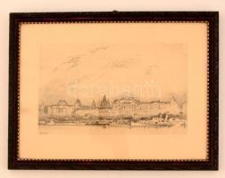 Zádor István (1882-1963): Duan parti szállodasor 1927. Litográfia, papír, jelzett, üvegezett keretben, 20×33 cm