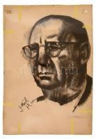 Szabó Zoltán (1929-2014): Férfi portré. Szén, papír, jelzett, 100×70 cm