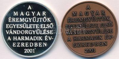 Veres Gábor (1955-) 2001. MÉE Siófok - 31. Vándorgyűlés Ag és Br emlékérem pár (33,72g/0.925/42,5mm) T:PP,1