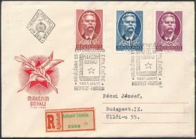 1951 Maxim Gorkij sor ajánlott FDC-n