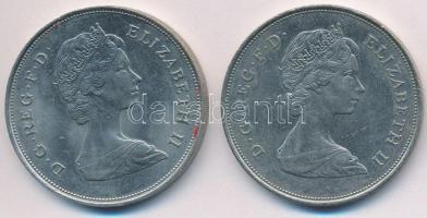 Nagy Britannia 1980. 25p Cu-Ni II. Erzsébet / Az anyakirálynő 80. születésnapja + 1981. 25p Cu-Ni Károly Herceg és Lady Diana esküvője T:2 fo. Great Britain 1980. 25 New Pence Cu-Ni 80th Birthday of Queen Mother + 1981. 25 New Pence Cu-Ni Wedding of Prince Charles and Lady Diana C:XF spotted