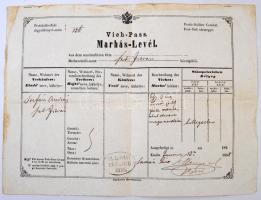1855 Szentistván, magyar és német nyelvű marhalevél, községi bélyegzővel