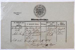 1851 Veszprém, marhalevél, városi fejléces papíron