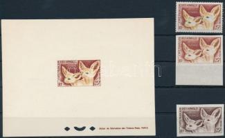 Desert Fox perf and imperf stamps + de luxe block  + colour-proof Sivatagi róka fogazott és vágott bélyeg valamint de luxe blokk formában +színpróbanyomat