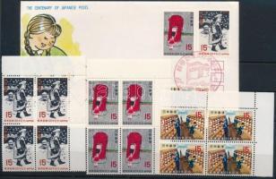 1971 100 éves a japán posta, gyermekrajz sor ívsarki 4-es tömbökben Mi 1107-1109 + FDC