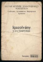 1945 Magyar Művészek Szabad Szervezete filmes részére szolgáló igazolvány
