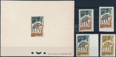 1963 Hiéna Mi 204 fogazott és vágott bélyeg valamint de luxe blokk formában + 2 db színpróbanyomat (blokkon papírránc / paper crease)