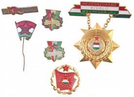 6db-os vegyes magyar kitüntetés, jelvény és kitűző tétel, közte DN Mezőgazdaság Kiváló Dolgozója aranyozott, zománcozott kitüntetés T:2