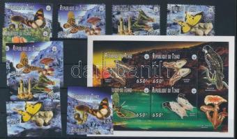 1996 Gomba sor 9 értéke Mi 1397 + vágott + fogazott sor 1399-1402 + kisív Mi 1403-1408