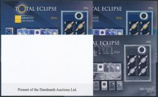 2016 Total Eclipse (Napfogyatkozás) angol nyelvű emlékív 4 db-os garnitúra azonos sorszámmal (003)