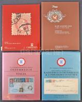 4 db osztrák / osztrák posta árverési katalógus közte Ryan és Jerger gyűjtemények árverési katalógusa