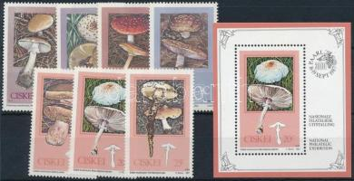 Mushrooms 1987-1988 1 set + 3 stamps + 1 block, Gomba motívum 1987-1988 1 sor + 3 klf bélyeg + 1 blokk