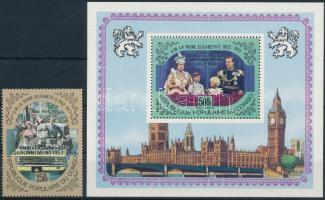 1978 Brit uralkodóház felülnyomott bélyeg Mi 645 + blokk Mi 17