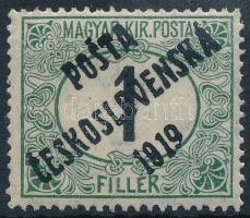 Posta Ceskoslovenska 1919 Feketeszámú Portó 1f garancia nélkül (**360.000)