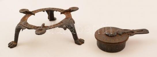 Régi vas spirituszfőző, d: 18 cm, m: 6 cm