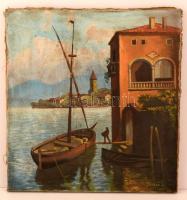 László jelzéssel: Rakodás a bárkára. Olaj, vászon, apró lyukkal, 52×48 cm