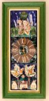 Maravić Đorđe Đuro (1950-): Fali óra. Kézzel festett mázas kerámia plasztika, jelzett, keretben, 45×14 cm