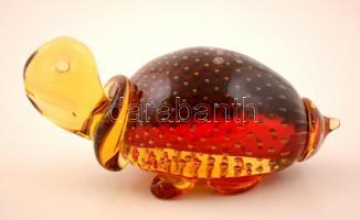 Muránói fújt teknős figura, jelzett, hibátlan, m:9 cm, h:17 cm