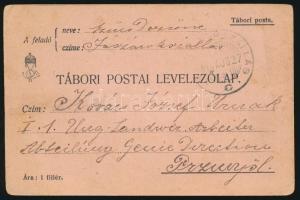 1914 Tábori posta levelezőlap / Field cover (JÁSZÁROK)SZÁLLÁS - Przemysl