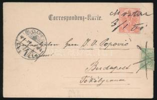 1901 10h képeslapon Mostar és 5h áthúzott kézi érvénytelenítéssel / Postcard with handwritten cancellations