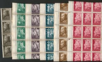 1942 Királyok 50 sor a 6f kivételével 50-es feltekeredett ívdarabokban (60.000)