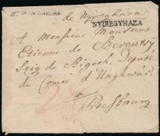~1825 Levél / Cover fekvő és negatív NYIREGYHAZA