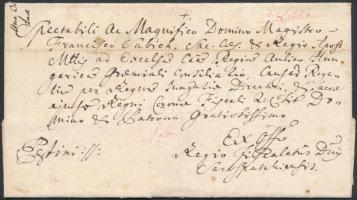 1783 Ex offo lila, kézírásos / handwritten, purple v.Liszka és postamesteri feljegyzéssel, pesti érkezési dátummal