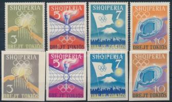 1964 Olimpia fogazott + vágott sor Mi 823-826 + 828-831