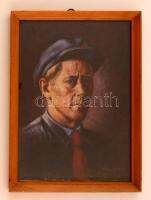 Péter József(?-?): Önarckép mint munkásőr. Olaj, farost, jelzett,üvegezett fa keretben, 37x26 cm