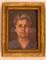 Péter József (?-?): Női portré. Olaj, farost, jelzett, fa keretben, 37×26 cm