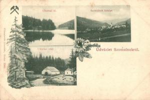 Szomolnok, Smolnik; Látkép, Uhornai tó és vám, kiadja Wlaszlovits Gusztáv / general view, lake, tax office, floral (EK)